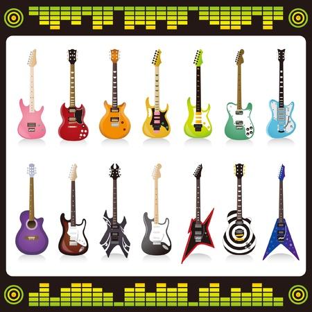 Muchos color y forma de la guitarra Foto de archivo - 19490732