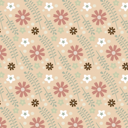 A variety of flowers on the wallpaper Stock Vector - 19490736