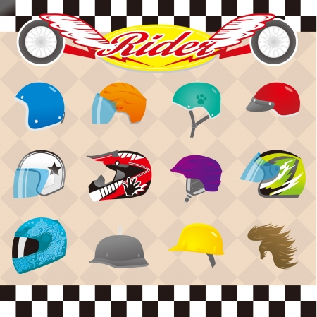 A variety of helmets on the card