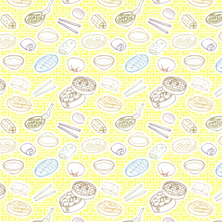 A variety of  Chinese breakfast Illustration