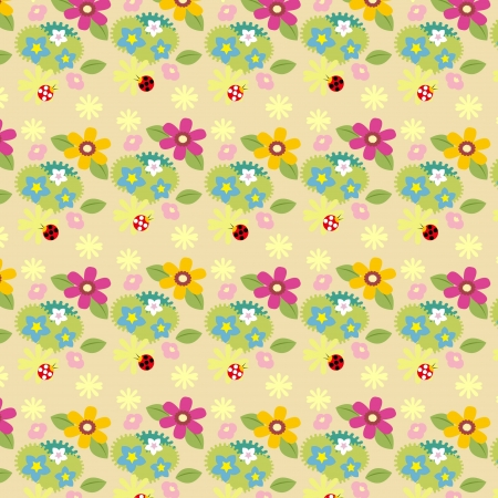 A variety of flowers on the wallpaper Stock Vector - 19490739