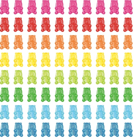 candy background: Bears has a variety of colors Illustration