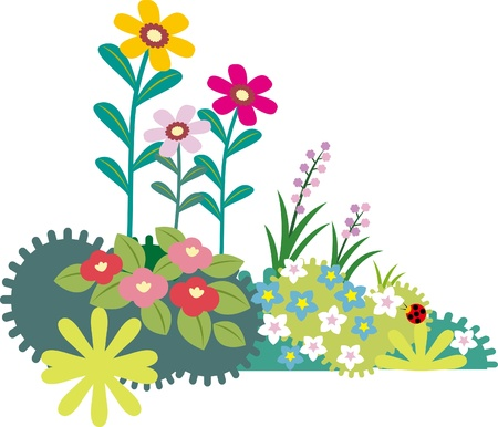 A variety of flowers and grass Stock Vector - 19490728