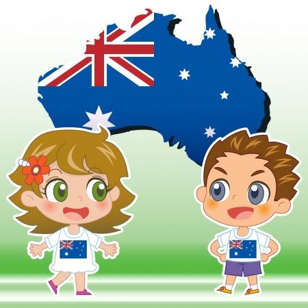 Australie garçon, fille, carte et drapeau national Illustration
