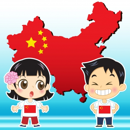 national costume: China boy, girl,map and national flag