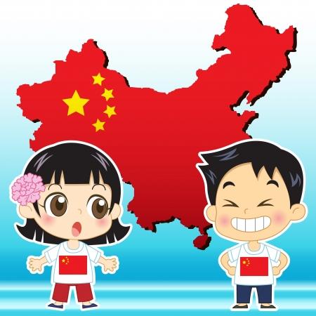 mapa china: China, ni�o, ni�a, el mapa y la bandera nacional