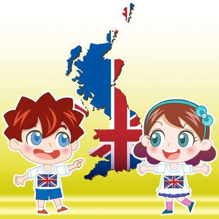 british culture: England boy, girl,map and national flag