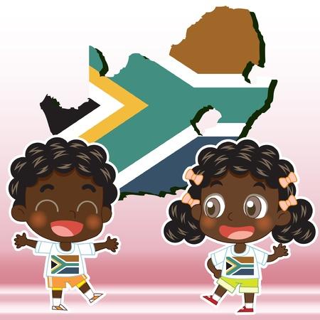 남아프리카 공화국의 소년, 소녀,지도와 국기 일러스트