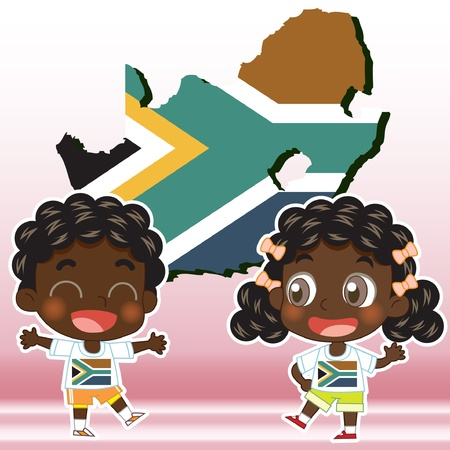 South Africa boy, girl,map and national flag