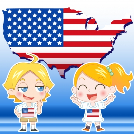 USA boy, girl,map and national flag Illustration