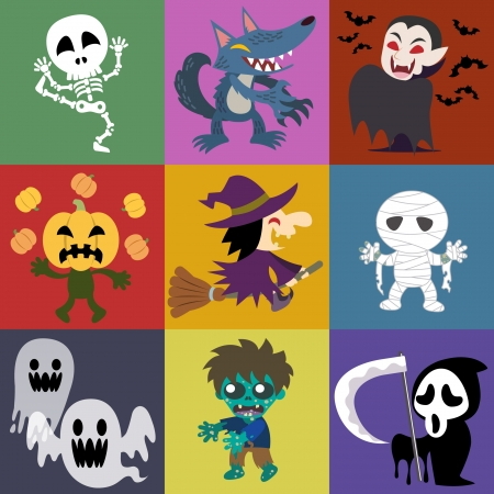 A variety of Halloween roles Illustration