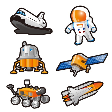 space station: Astronaut,Space Shuttle,Landing craft,Lunar lander and Satellite Illustration