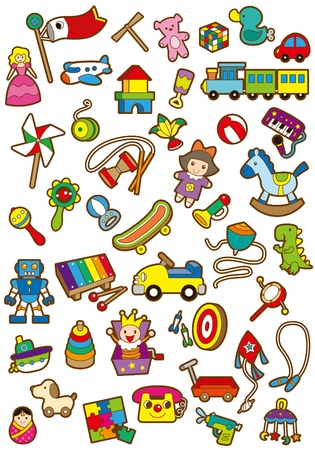 A variety of childrens toys