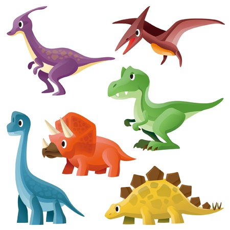 Tyrannosaurus,Pterosaur,Hadrosaurid,Triceratops,Stegosaurus and Brontosaurus Illustration