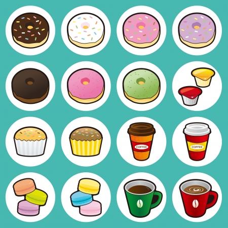 Donuts, Pastel, Macarons, café y leche con chocolate Foto de archivo - 19728891