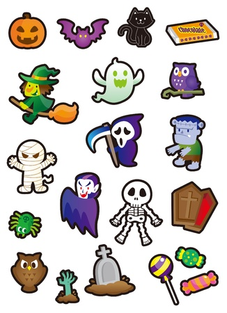 Halloween Stickers and so cute Vector