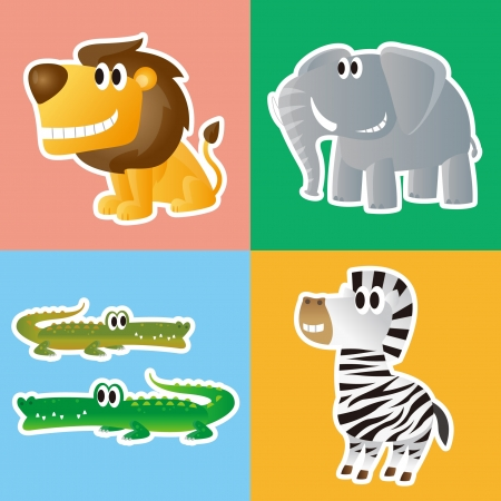 Lion,Elephant,Crocodile and Zebra Vector
