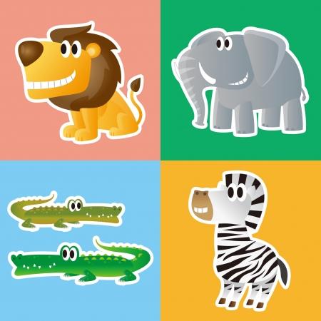 Lion,Elephant,Crocodile and Zebra