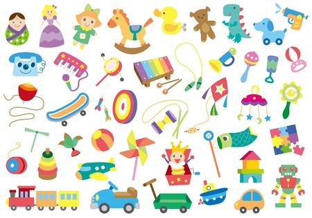 tren caricatura: Una variedad de juguetes de los ni�os Vectores