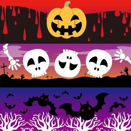 Sangre, linterna, cementerio, bat, bosque, cráneo y bandera Foto de archivo - 20752246
