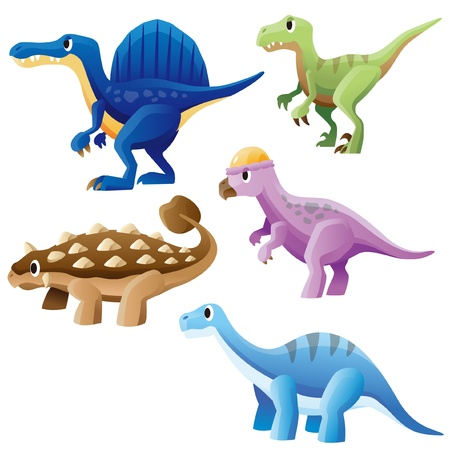 Spinosaurus,Ankylosaurus,Raptor,Pachycephalosaurus and Brontosaurus Illustration