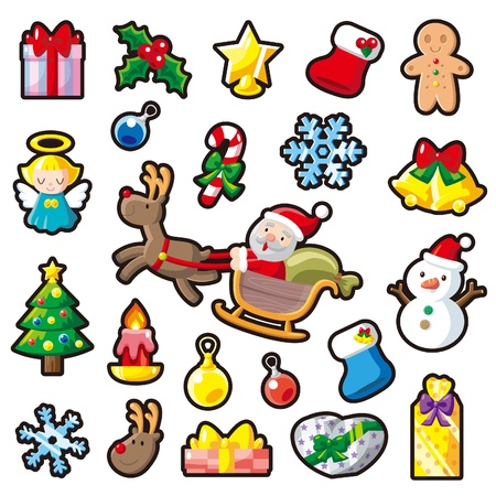 Christmas sticker and illustration Illustration