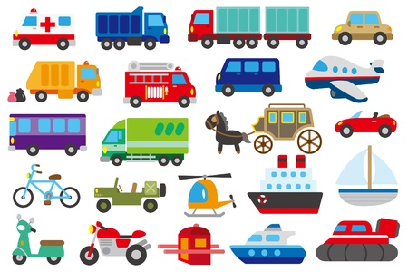 cartoon auto, vrachtwagen, onderzeeër, schip, vliegtuig