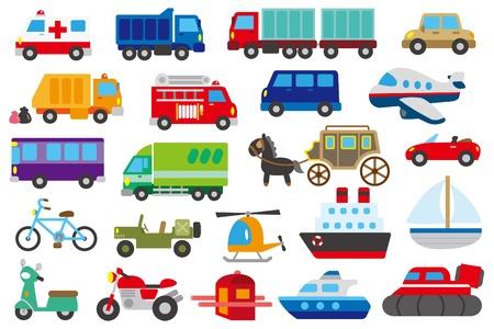 cartoon auto, vrachtwagen, onderzeeër, schip, vliegtuig Vector Illustratie
