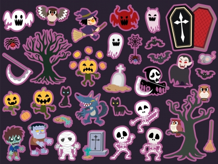 Halloween theme icon set. Vector illustration. Vector