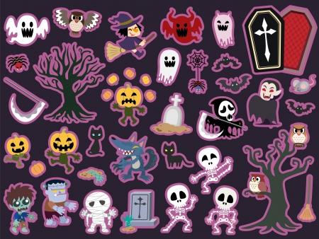 Halloween theme icon set. Vector illustration. Illustration