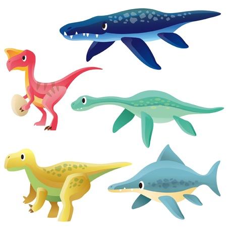 Oviraptor,Liopleurodon,Plesiosaur,Iguanodon and Ichthyosaurus