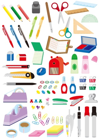 A lot of stationery items Vector