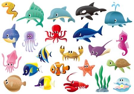 shark cartoon: Una variedad de organismos marinos