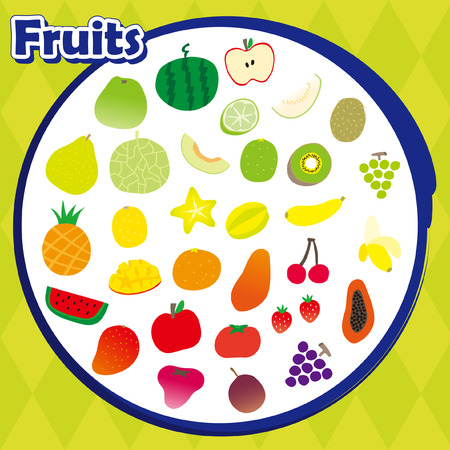 A variety of vector fruits collection Illustration