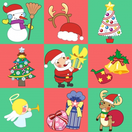 Christmas sticker and Vector illustration