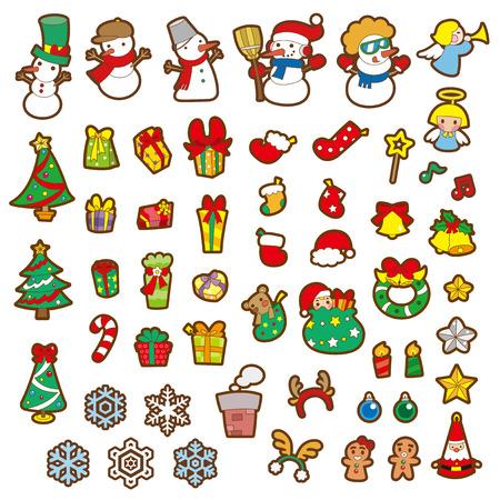Etiqueta engomada de la Navidad y la ilustración vectorial Foto de archivo - 24198539