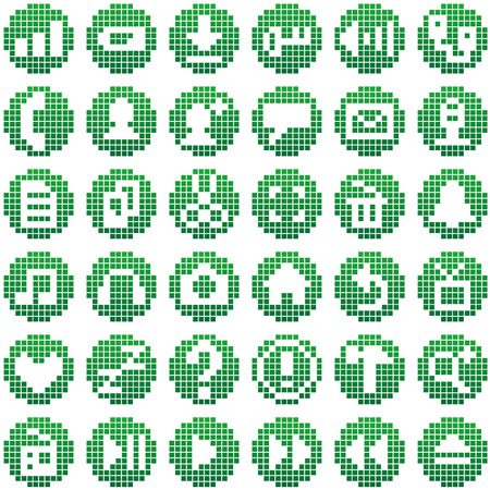 A variety of call phone 8 bit icon Illustration
