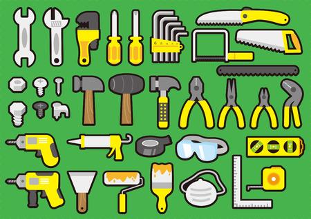 hardware icon: Tool and hardware icon set Illustration