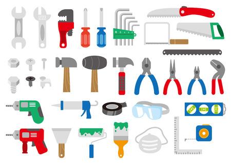 Tool and hardware icon set Illustration