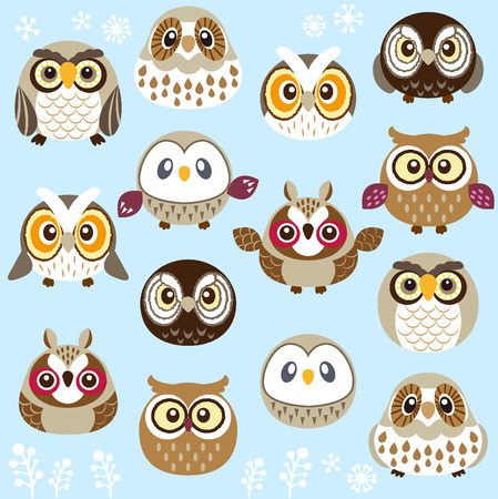 cartoon face: A lot of cute owls