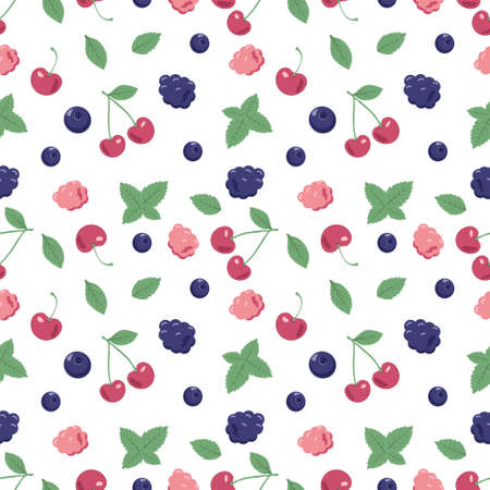 Seamless pattern with berries and mint leaves. A cute summer or spring print with cherries, blueberries and raspberries. Festive decoration for textiles, wrapping paper and design. Vector flat illustration Ilustração