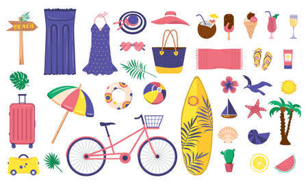 A large bright set summer items. Beach, vacation and travel icons. Clothing, ice cream, soft drinks and decorative marine elements. Cycle ride, luggage holiday and surfboard. Vector flat illustration
