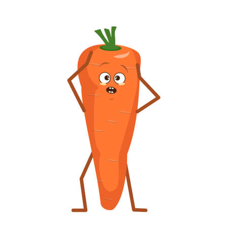 Cute carrot character with emotions in a panic grabs his head isolated on white background. The funny or sad hero, orange fruit and vegetable. Vector flat illustration