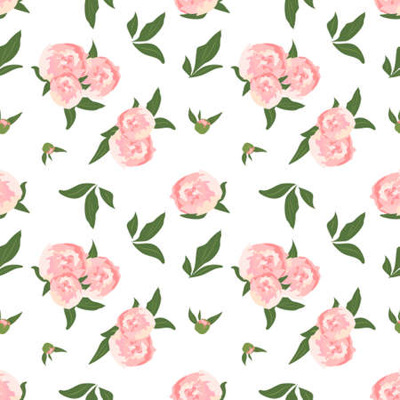 Delicate seamless pattern with peonies. Cute floral spring or summer print. Flowers with leaves on the background. Decoration for wedding, textile, wrapping paper and design. Vector illustration