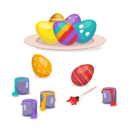 Multicoloured Easter eggs with pattern lie on a plate and beside a brush and paint. Happy Christian religious holiday and traditions. Spring festive decorations. Vector illustration