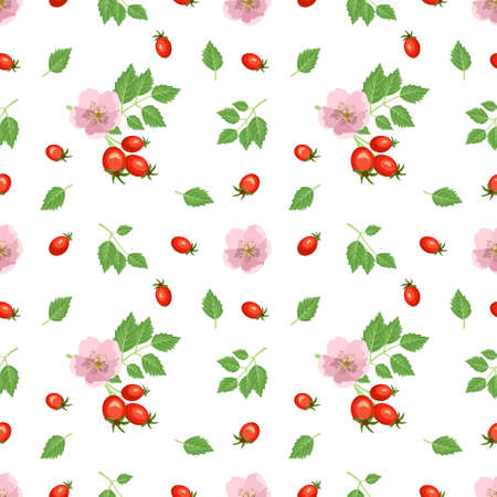 Bright seamless pattern with rose hips, red berries, leaves and flowers. Summer cute print for wrapping paper, textile and design. Vector illustration Vector Illustratie