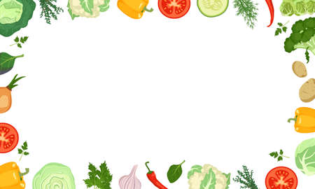 Frame made of vegetables with cabbage, peppers, tomatoes and onions. Healthy vegetarian food set. Vector illustration on white background. Vektoros illusztráció