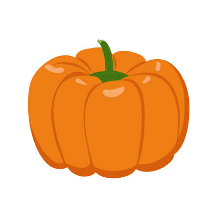 Orange pumpkin icon. Autumn vegetable for healthy food, dessert, soup. Elements for design for the holiday of Halloween. Source of vitamin A. Vector flat illustration