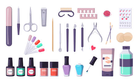 A set of tools for manicure. Collection of equipment: nail files, nippers, scissors. Caring for the health of hands and nails. Beauty salon icons. Vector flat illustration.