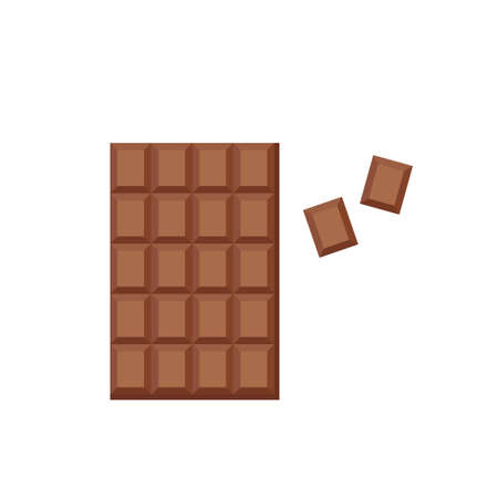 Milk chocolate bar and broken wedges. Source of calcium, fat. Sweet dessert. Vector flat illustration
